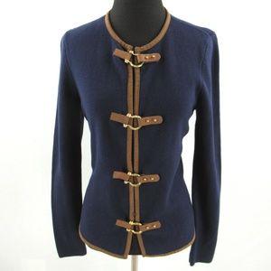 Ralph Lauren Cardigan Sweater Leather Buckles Trim